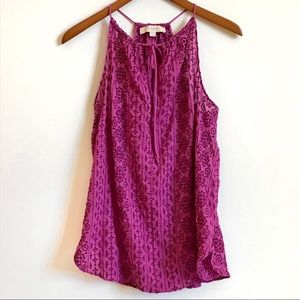 LOFT Ann Taylor Embroidered Purple Tank Top Size S